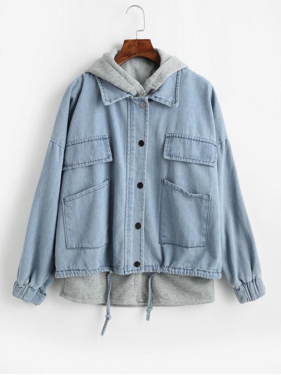 fashion Fleece Hooded Vest and Denim Jacket Twin Set - PASTEL BLUE M