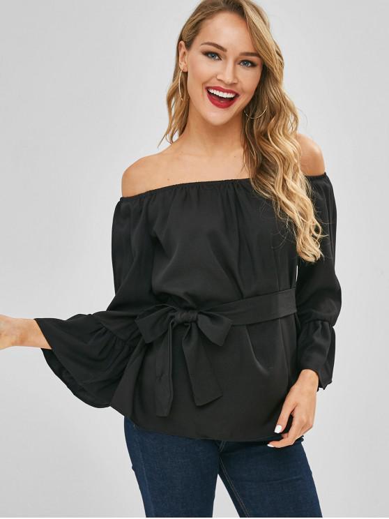 888ef0e88e1e7 2019 Flare Sleeves Off Shoulder Belted Blouse In BLACK S