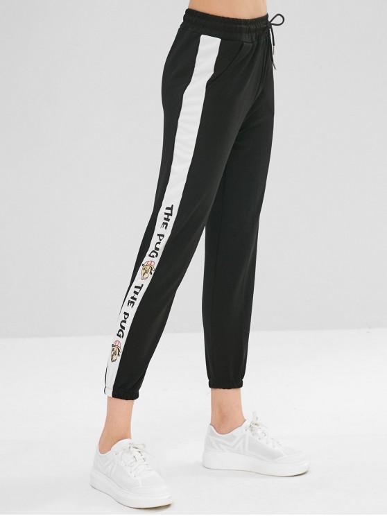 women's Drawstring Letter Print Jogger Pants - BLACK L