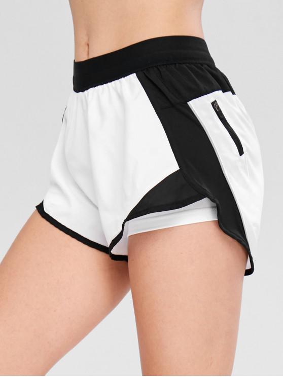 unique Pocket Color Block Layered Sport Shorts - WHITE L