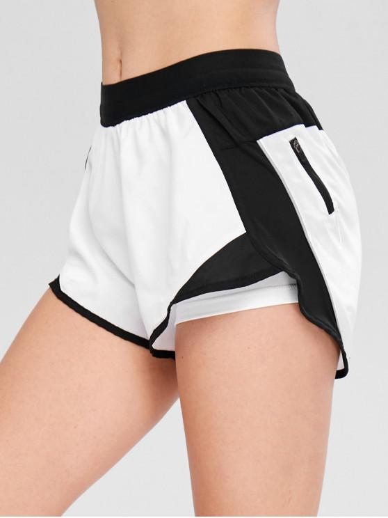 sale Pocket Color Block Layered Sport Shorts - WHITE XL