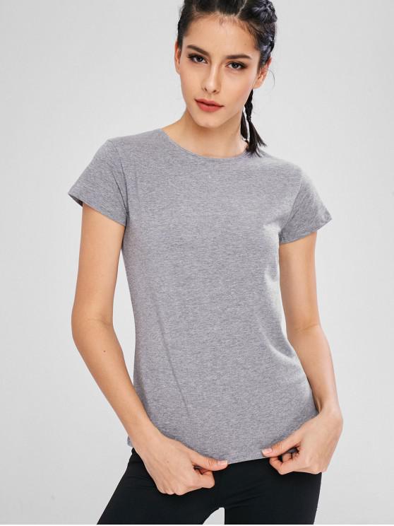 T-Shirt Sportiva Con Maniche Corte - Grigio L