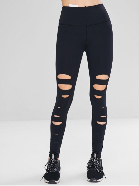 lady Distressed Hidden Pocket Sport Leggings - BLACK M