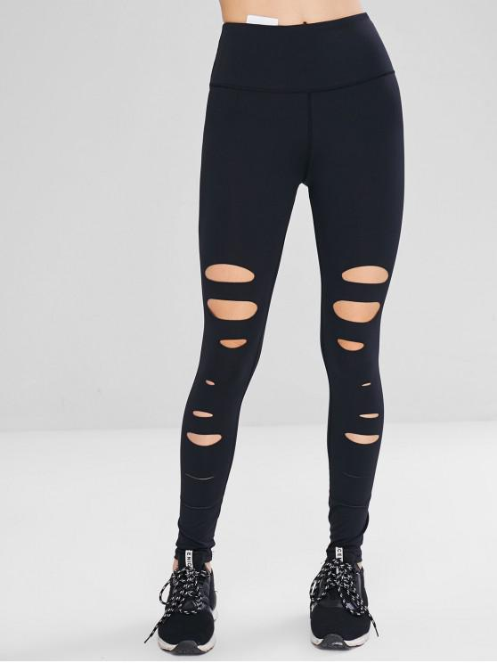 best Distressed Hidden Pocket Sport Leggings - BLACK L