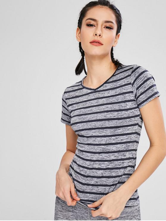 Gestreiftes T-Shirt mit V-Ausschnitt - Grau M