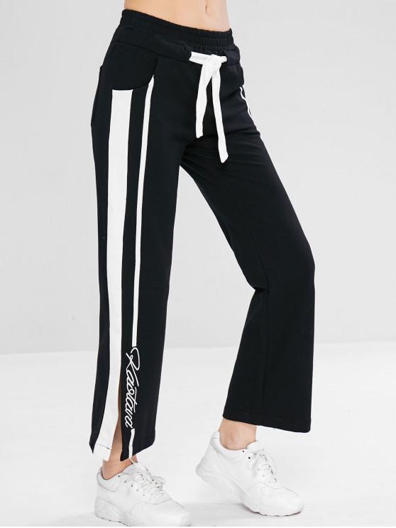 Pantalon de Survêtement Fendu Contrasté à Cordon - Noir L