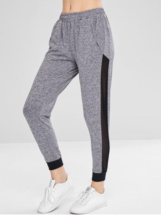 Pantalon de jogging à empiècements en maille chiné - Gris XL