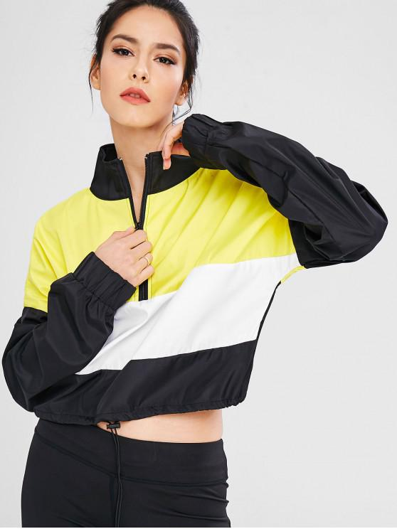 hot Color Block Zip Pullover Sport Jacket - MULTI M