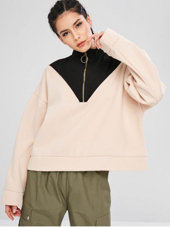latest Oversized Half Zip Sport Sweatshirt - APRICOT M