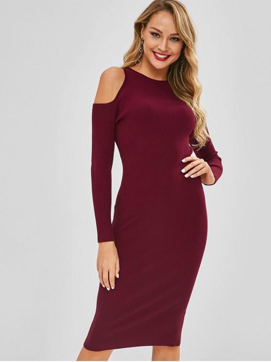 Kalte Schulter lange Ärmel Pullover Kleid - Kastanie Rot M