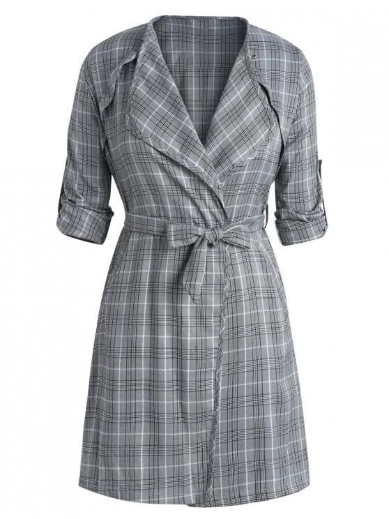 Übergroße Seitenschlitz-Plaid-Mantel mit Gürtel - Schwarz 3X