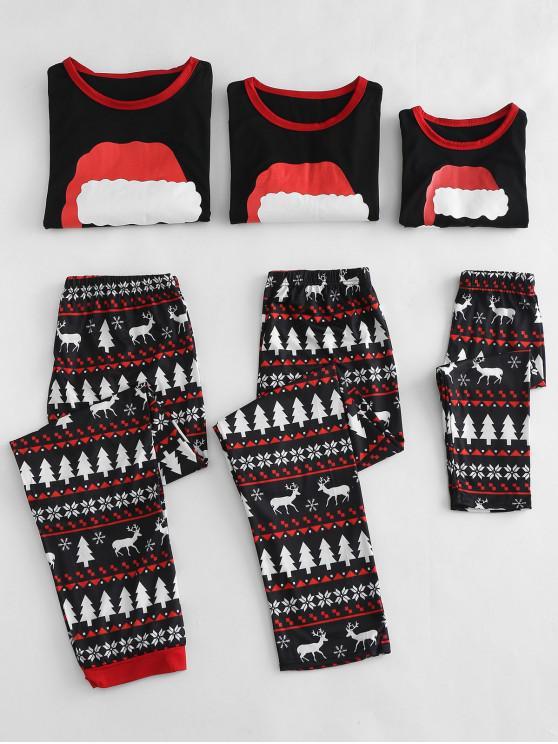 Weihnachtsmütze gedruckt Familie Pyjamas Sets - Schwarz Mutter L