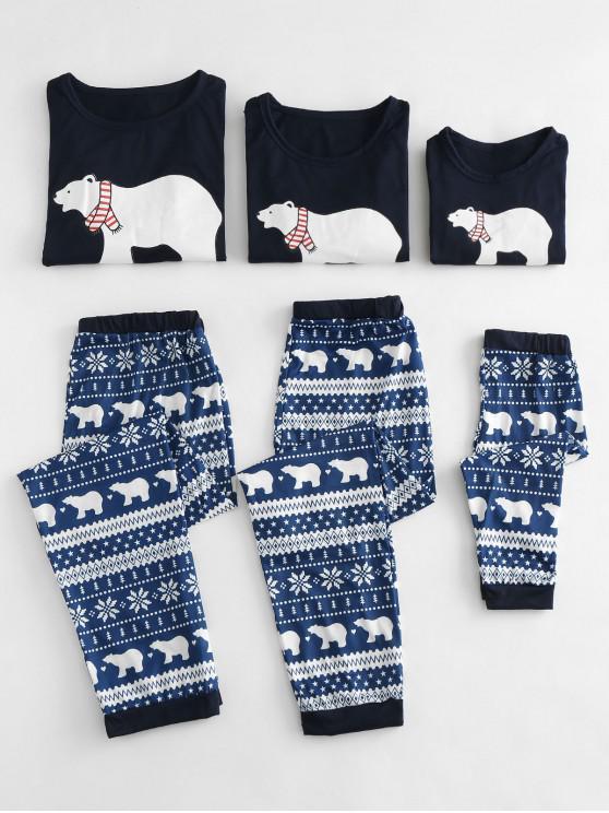 Oso Polar Impreso Navidad Pijamas Familia Conjuntos - Azul MOM M