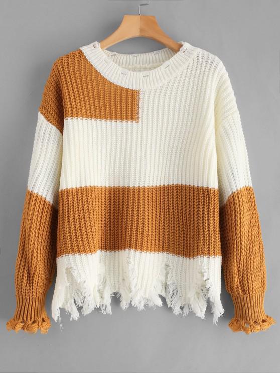 Hit Color Wave Cut Zerrissener Pullover - Multi Eine Größe
