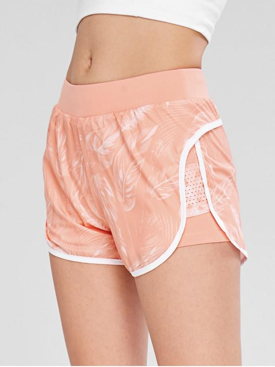 latest Palm Perforated Insert Layered Sport Shorts - PINK L