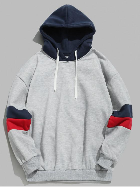 women Drawstring Splicing Color Block Hoodie - LIGHT GRAY XS