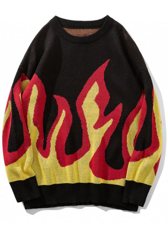 Camisola de pulôver com padrão de chama de gola - Milho Amarelo L