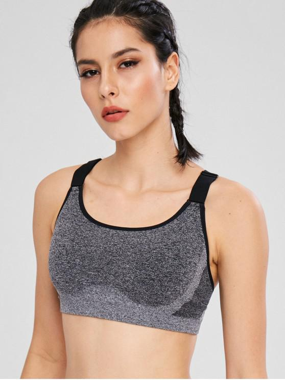 trendy Heather Y Line Sport Seamless Bra - GRAY L