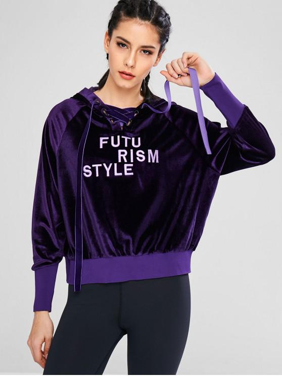 lady Athletic Velvet Embroidered Hoodie - PURPLE M