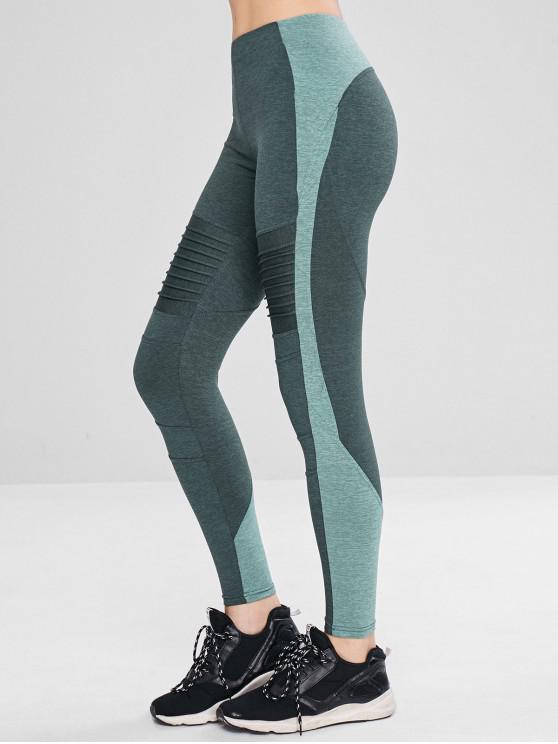 Leggings Sportivi A Blocchi Di Colore Con Tasca - Verde intenso L