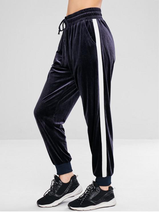 shop ZAFUL Color Block Velvet Jogger Pants - BLUE GRAY L