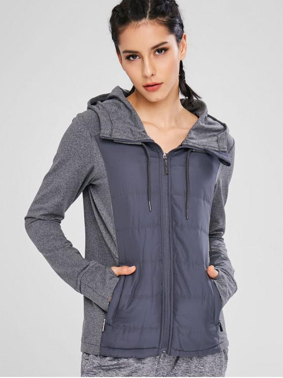 hot Color Block Hooded Sport Jacket - GRAY M