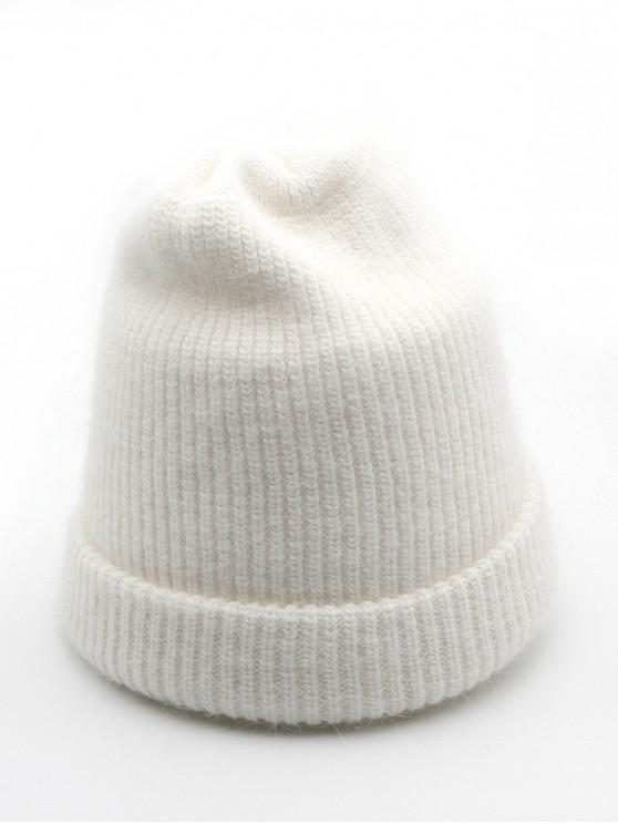fancy Solid Color Flanging Ski Beanie - WHITE