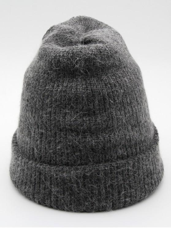 sale Solid Color Flanging Ski Beanie - GRAY
