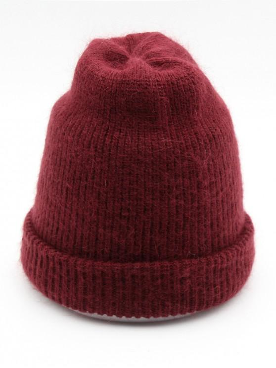 Solid Color Flanging Ski Beanie   Red Wine by Zaful