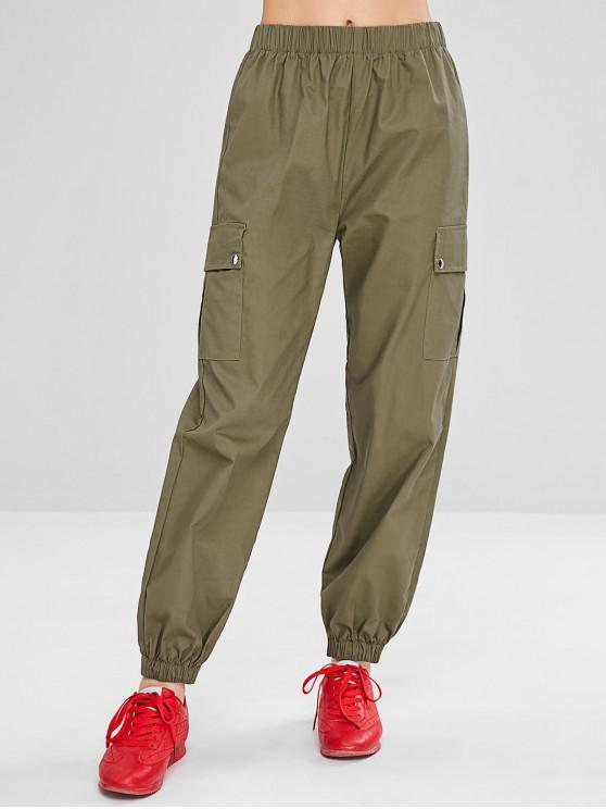 ladies Sports Cargo Jogger Pants - ARMY GREEN S