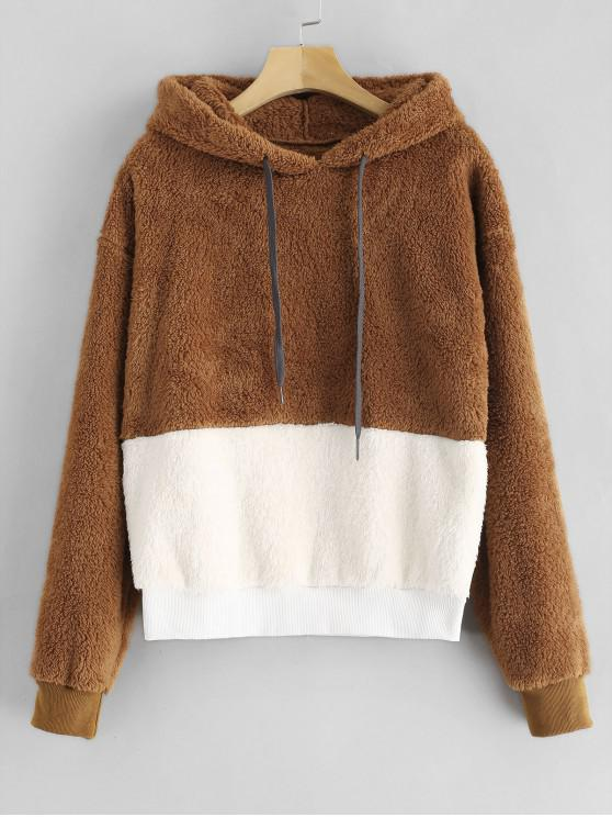 outfit Color Block Fluffy Faux Shearling Teddy Hoodie - MULTI-A 2XL