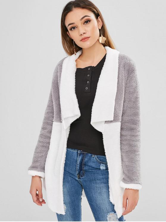 fancy Color Block Open Front Fleece Coat - MULTI XL