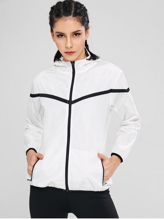 lady Hooded Color Block Zipper Jacket - WHITE L