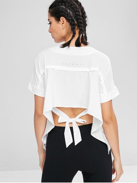 T-Shirt A Pois Con Nodo Indietro - Bianco L