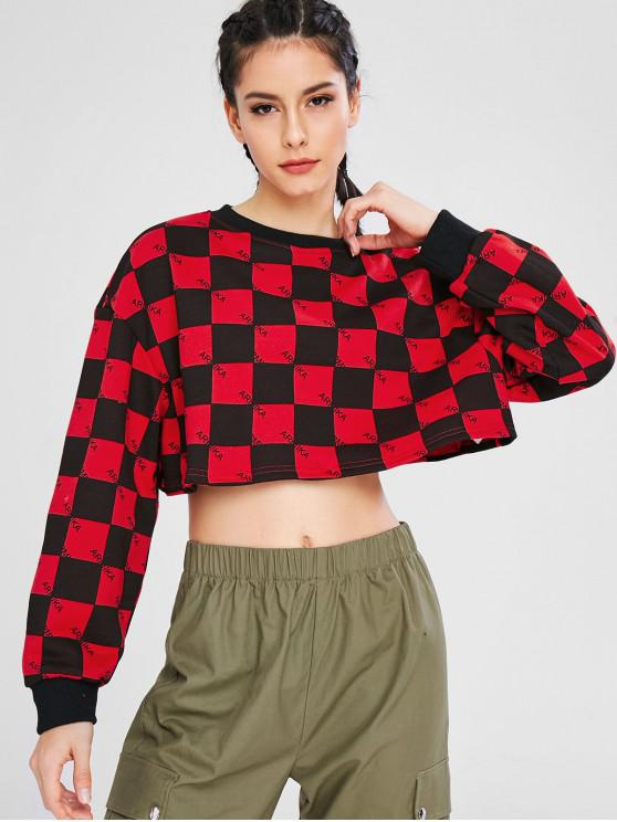 Ernte Plaid Drop Schulter Sport Sweatshirt - Multi M