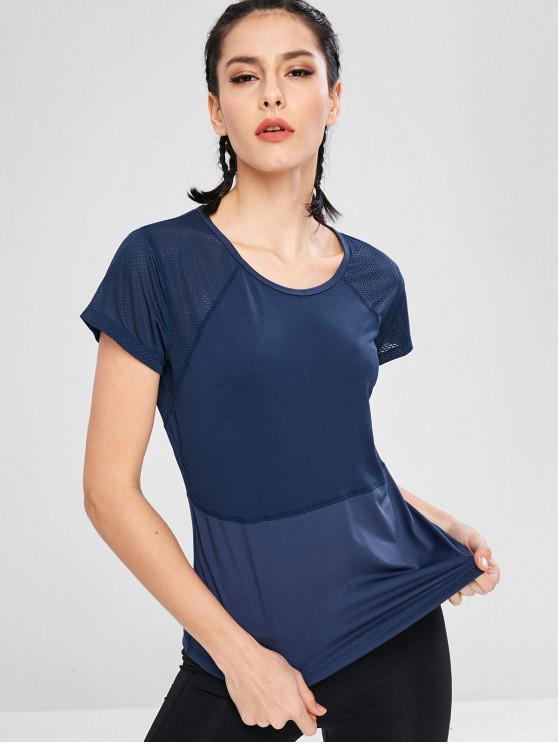 T-Shirt Perforata Con Maniche Corte - Cadetblue L