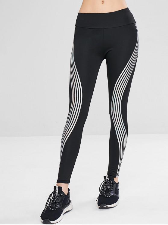 ladies Striped Skinny Active Leggings - BLACK L