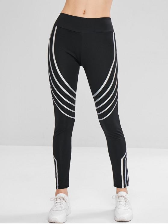 best Striped Reflective Design Leggings - BLACK L