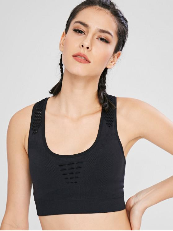 trendy Perforated Racerback Active Bra - BLACK M