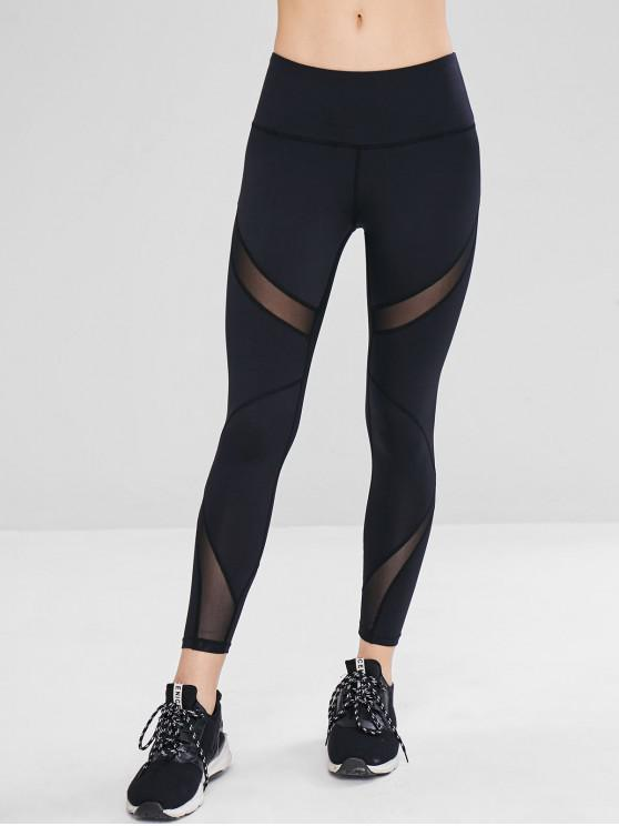 shops Mesh Insert Ninth Active Leggings - BLACK L
