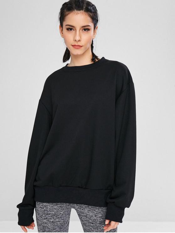 women Pullover Oversized Tunic Sweatshirt - BLACK M