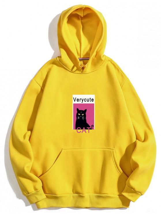 Sudadera con capucha de felpa estampada con estampado de gato - Amarillo XL
