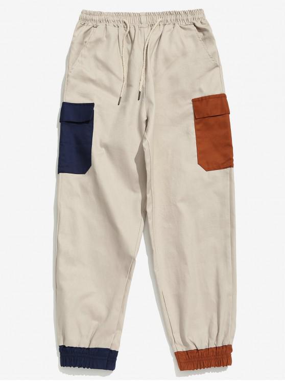 affordable Colorblock Pocket Beam Feet Pants - LIGHT KHAKI M