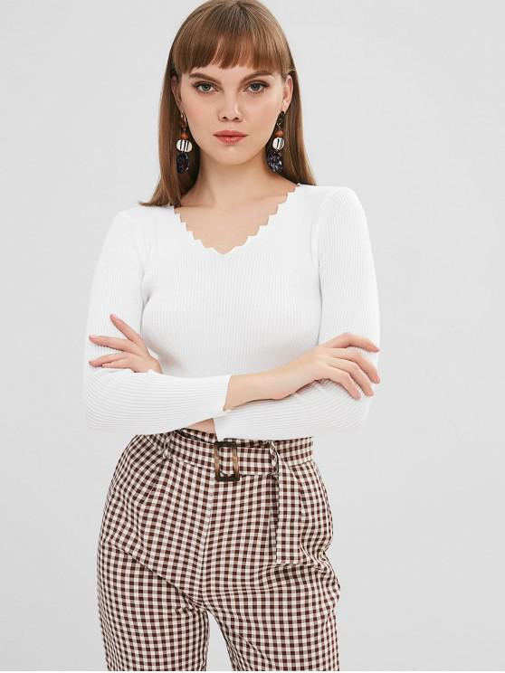 shops Ribbed Wavy Cut V Neck Sweater - WHITE ONE SIZE