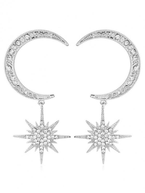shop Rhinestoned Star and Moon Pattern Drop Earrings - SILVER