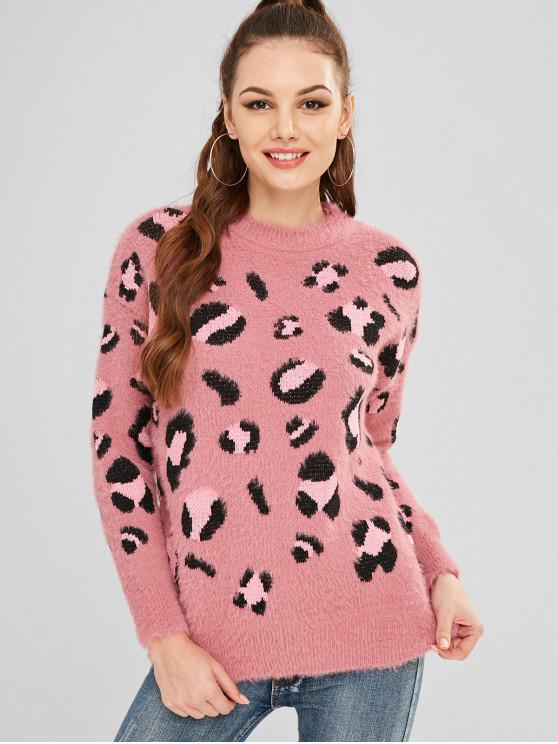 73e28bbf2a9b 38% OFF] 2019 Leopard Pattern Fuzzy Sweater In MULTI   ZAFUL