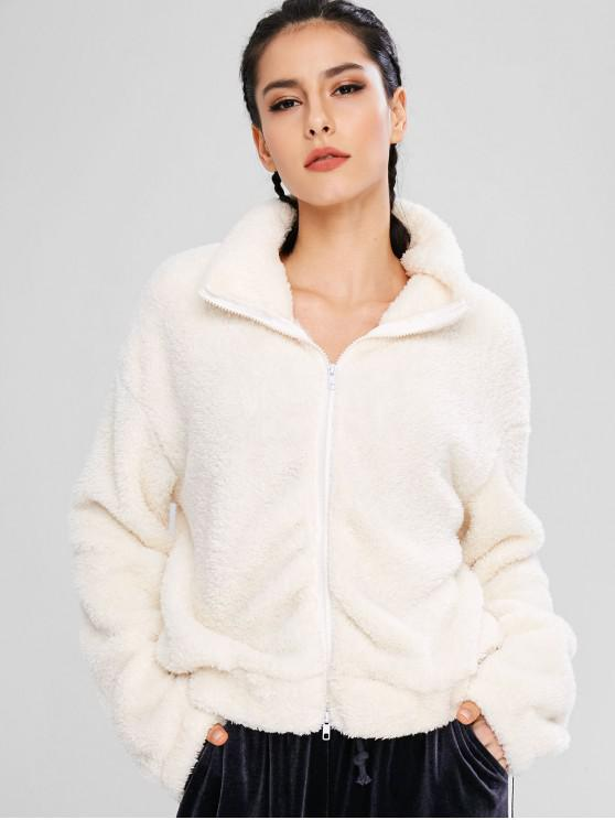 chic ZAFUL Fluffy Drop Shoulder Zipper Teddy Jacket - WARM WHITE S