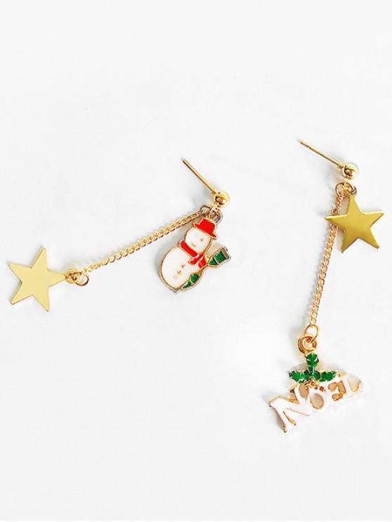 chic Asymmetric Christmas Snowman and Letter Earrings - RED