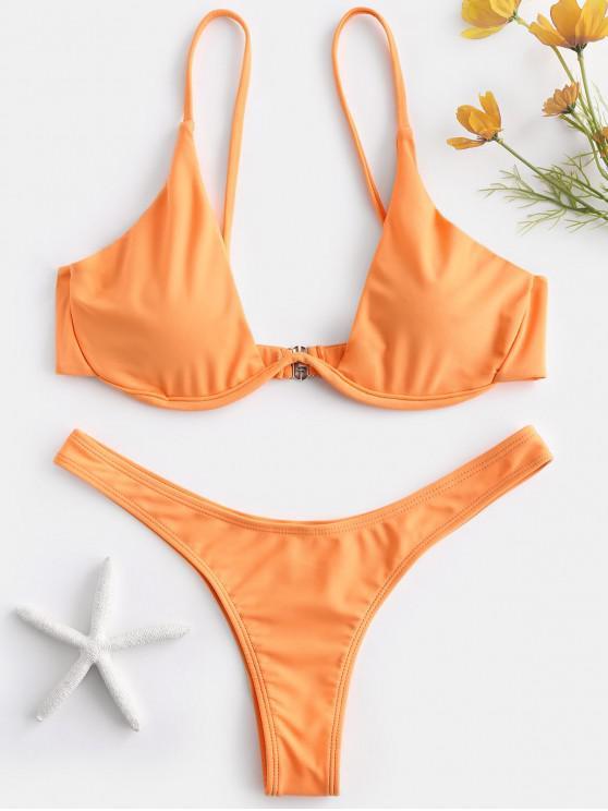 women Push Up Plunge Bathing Suit - SANDY BROWN L