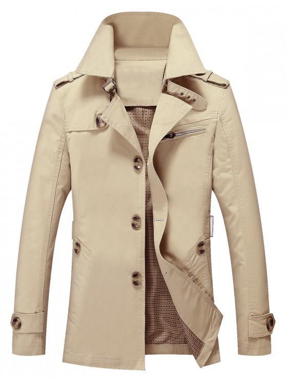 best Solid Button Up Jacket - LIGHT KHAKI L